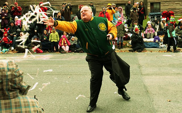Rob Ford at the Santa Claus Parade in 2012  Photo by Jason Verwey, from the Torontoist Flickr Pool