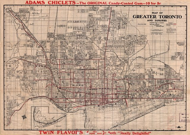 Map of Greater Toronto and Suburbs (The Map Company, 1916)  From the University of Toronto Maps Library