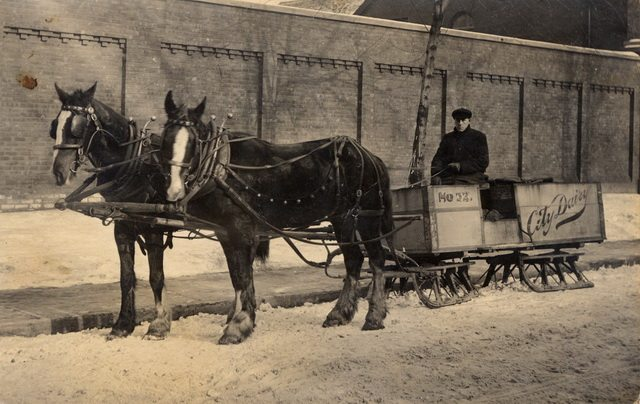 City Dairy sleigh in Toronto, no date  From the Trafalgar Township Historical Society via Our Ontario