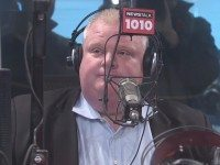 Rob Ford in the Newstalk 1010 studio during the last installment of his radio show there. (Screengrab of live video feed.)