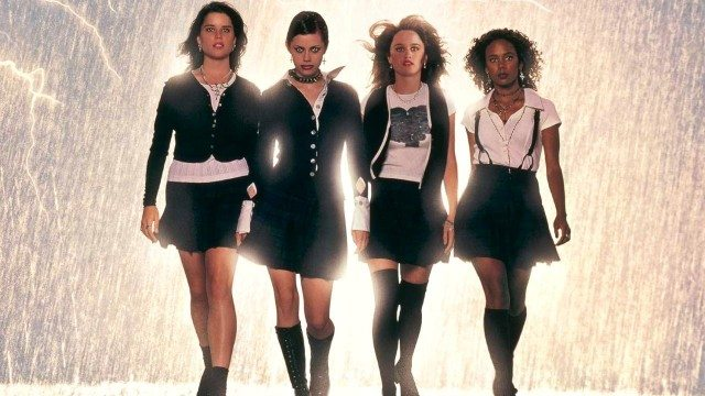Neve Campbell, Fairuza Balk, Robin Tunney, and Rachel True star in The Craft. Image courtesy of Columbia Pictures.