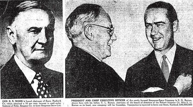 General Robert E  Wood, Charles L  Burton, and Edgar G  Burton  The Toronto Star, July 22, 1952