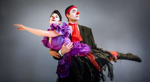 Clown-dancers of Toronto Masque Theatre's Arlecchino Allegro. Photo by Tariq Keiran.