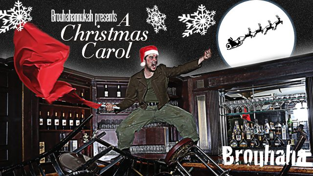 Actor Benjamin Blais, who's taking part in a reading of TheChristmas Carol, might be taking Christmas cheer a bit too far. Image courtesy of Theatre Brouhaha.