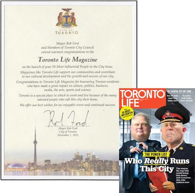 Rob Ford appreciates Toronto Life this holiday season