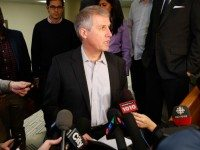 David Soknacki speaking to reporters at City Hall the day he launched his mayoral bid.