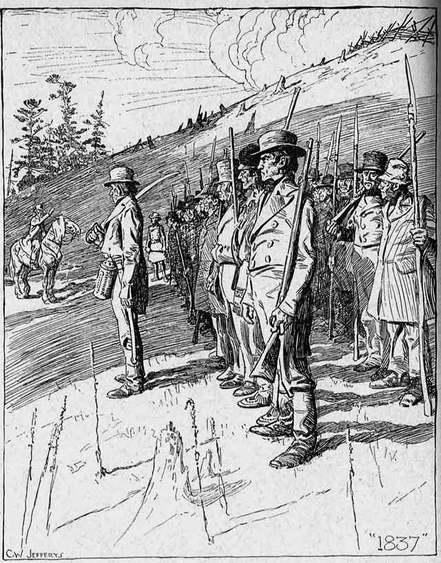 Rebels drilling in North York in Autumn 1837  Illustration by C W  Jefferys, The Picture Gallery of Canadian History Volume 3 (Toronto: Ryerson Press, 1950)