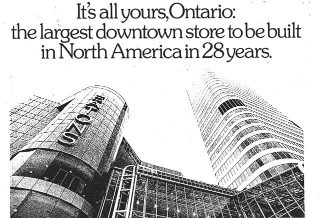 From an advertising supplement promoting the opening of the Eaton Centre, the Toronto Star, February 8, 1977