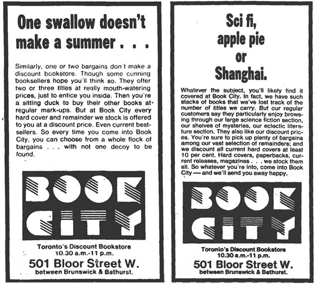 Advertisements, the Globe and Mail, October 13, 1979 (left), the Globe and Mail, October 20, 1979 (right)