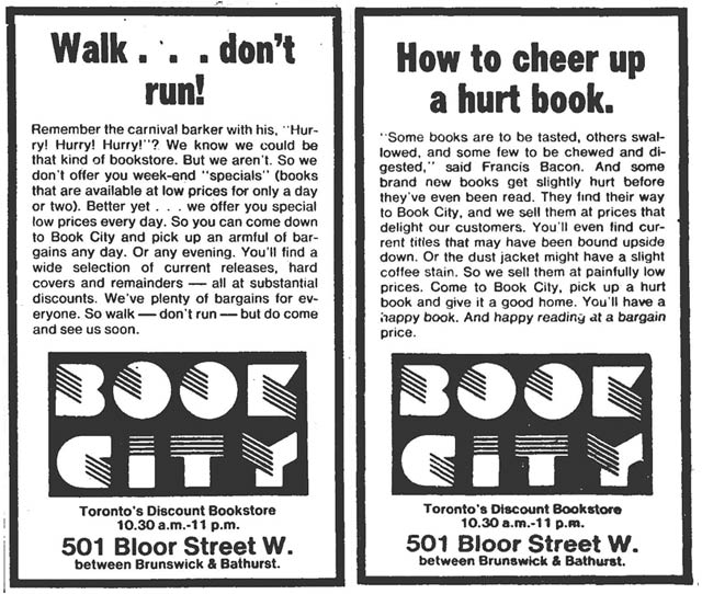Advertisements, the Globe and Mail, November 3, 1979 (left), the Globe and Mail, November 17, 1979 (right)