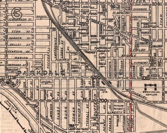 The robbery and arrests occurred within a few blocks of the Irving home at 158 Gladstone Avenue  Detail from Algate's Toronto & Suburbs Map (Map Specialty Co , 1935)  From the University of Toronto Maps Library
