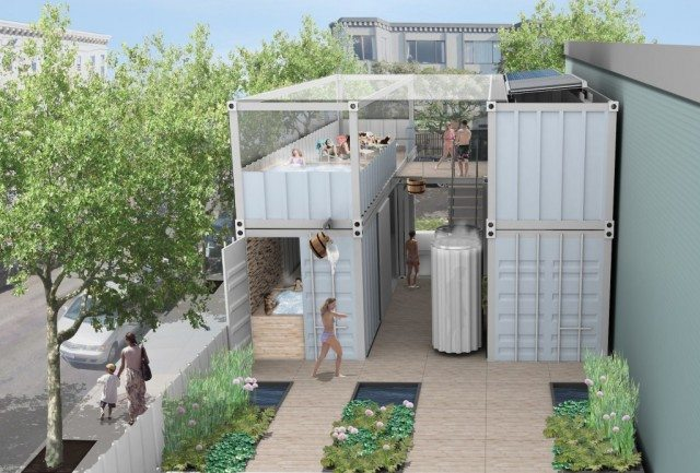SOAK bathhouse would be housed entirely in shipping containers  Image courtesy of SOAK