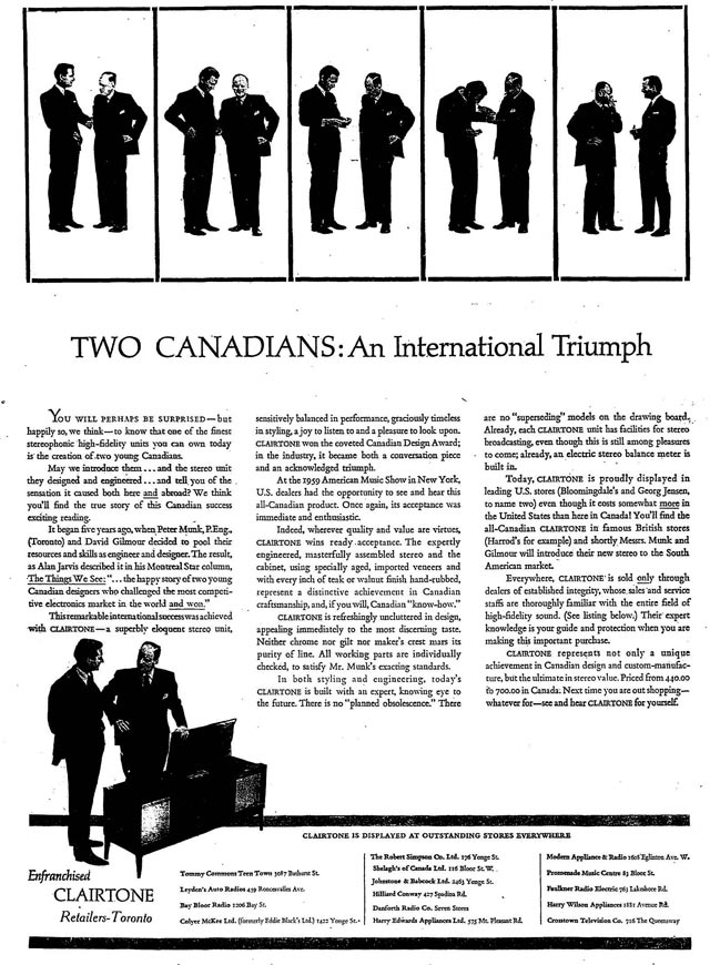 One of the first ads of Dalton Camp's Clairtone campaign  The Globe and Mail, March 29, 1960