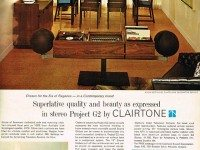 Advertisement showing a Clairtone Project G2 stereo and colour TV, Chatelaine, October 1966.
