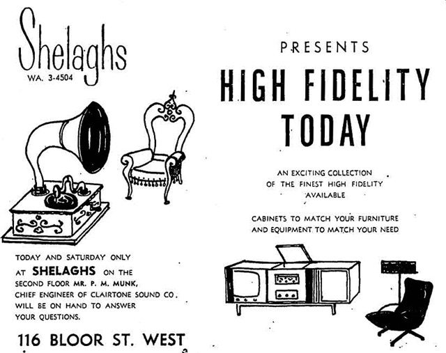 Advertisement, the Globe and Mail, December 5, 1958