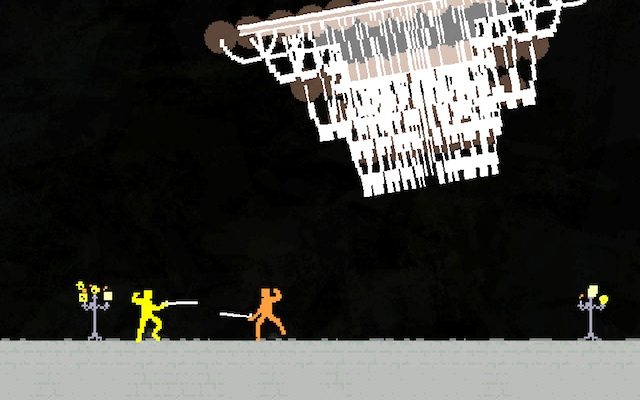 Nidhogg, designed by Messhof and with music by Daedelus, may not be super fancy, but it does feature a chandelier.