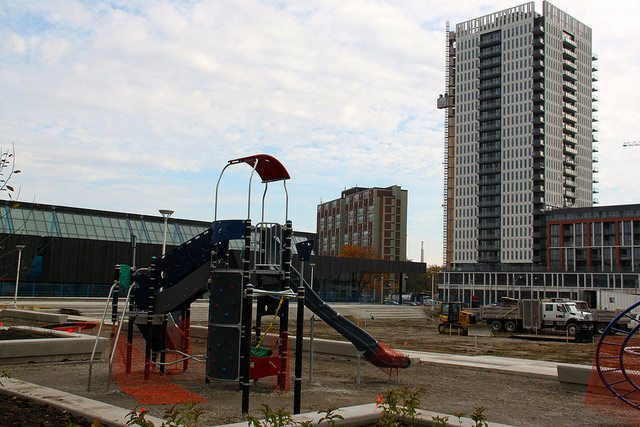Across from where the Toronto Park Summit was held in Regent Park, a new park rises  Photo by Linda Edwards from the Torontoist Flickr Pool