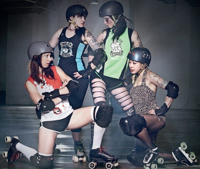The Chicks, Betties, Gores, and Dolls go head to head in Toronto Roller Derby's double header. Photo by Ashlea Wessel.