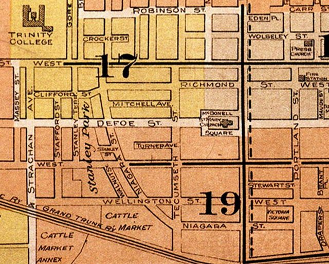 1924 Goad's Fire Insurance Map of the neighbourhood where Kluk hid and was captured  From Nathan Ng's Goad's Atlas of the City of Toronto project