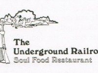 Underground Railroad logo from Judith Drynan and James Williamson, Dining In-Toronto: A Collection of Gourmet Recipes for Complete Meals from Toronto's Finest Restaurants (Peanut Butter Publishing, 1980).