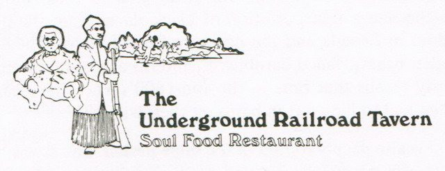 Underground Railroad logo from Judith Drynan and James Williamson, Dining In Toronto: A Collection of Gourmet Recipes for Complete Meals from Toronto's Finest Restaurants (Peanut Butter Publishing, 1980)