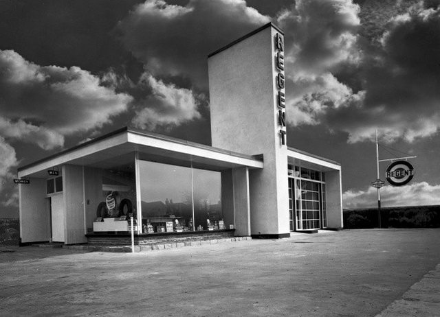 Regent Gas Station, Toronto, 1949  From Panda Associates fonds, Canadian Architectural Archives (PAN 49759 1)