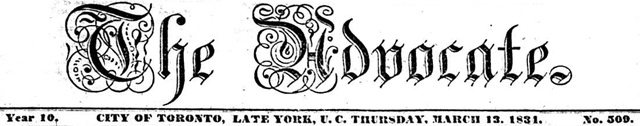 First edition of the Advocate to reflect York's transformation into Toronto, March 13,  1834