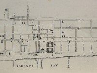 Map of Toronto, 1834, drawn by Alpheus Todd, who was 13 years old when he sketched the city's layout. Toronto Public Library.