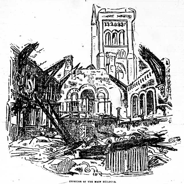 Sketch of interior of University College after the fire, the Globe, February 15, 1890