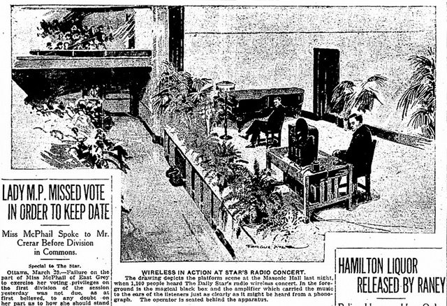 Artist's rendition of the first live concert from the Toronto Star (March 29, 1922)