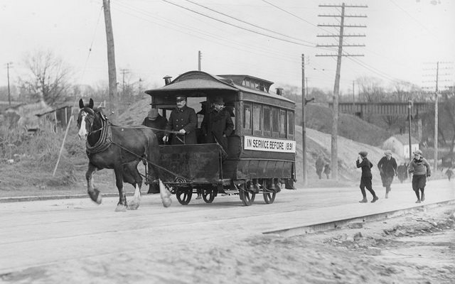 Horse-drawn streetcar in Weston, November 1925. From the City of Toronto Archives, Fonds 1266, Item 6724.