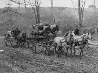 Horse team toiling up a muddy Weston Road hill in 1908. From the City of Toronto Archives, Fonds 1244, Item 1191A.