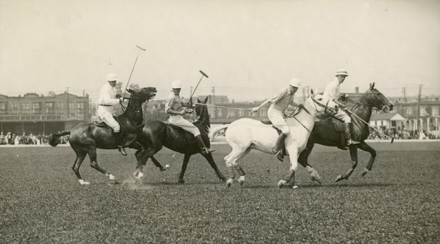Polo game at Old Woodbine Raceway, 1923