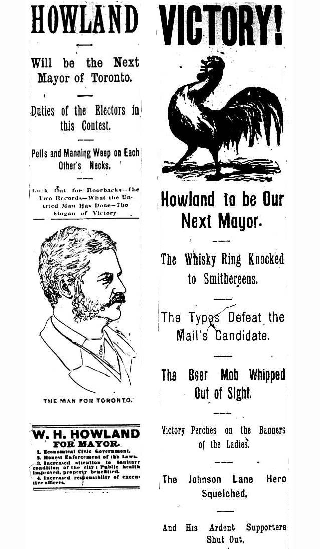 The News threw its support behind Howland in 1886  A sampling of headlines taken from (clockwise from bottom left) the December 31, 1885, February 2, 1886, and February 5, 1886 editions of the paper