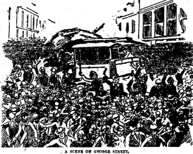 Illustration of riots during lockout of Toronto Street Railway workers  The News, March 13, 1886