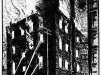"""Artist Capel was on hand when the fire was at its height last night and the above sketch depicts his impressions of the conflagration from the Pearl Street side. The cross marks the window from which one of the guests jumped."" The News, March 18, 1914."