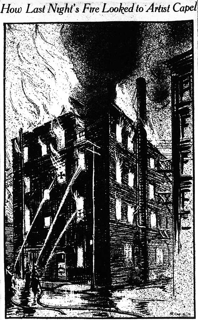 """Artist Capel was on hand when the fire was at its height last night and the above sketch depicts his impressions of the conflagration from the Pearl Street side  The cross markes the window from which one of the guests jumped "" The News, March 18, 1914"