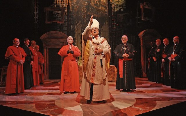 David Suchet and Richard O'Callaghan star in The Last Confession. Photo by John Haines.