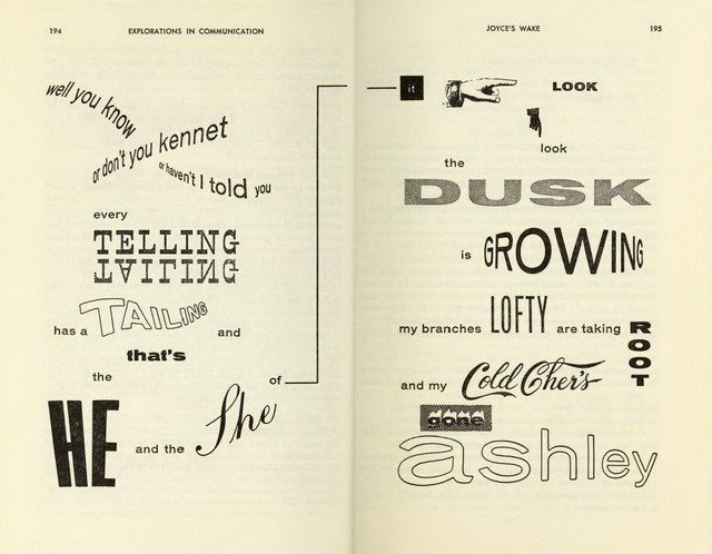 Word art from Edmund Carpenter and Marshall McLuhan, eds , Explorations in Communication: An Anthology (Beacon Press, 1960)