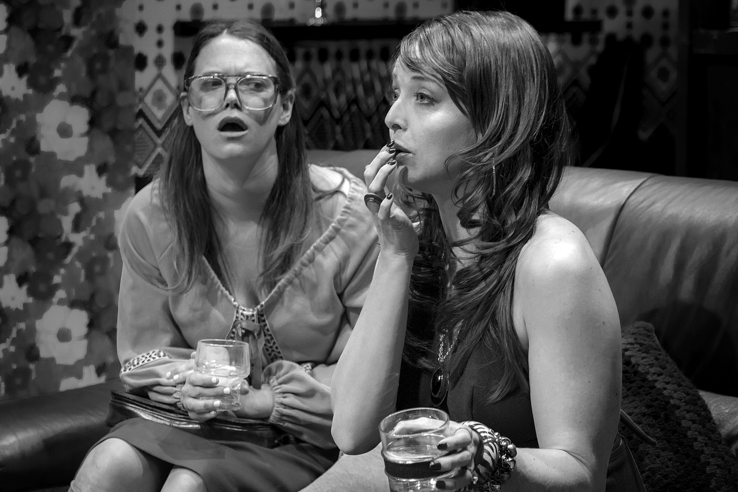 Claire Burns (left) and Anna Hardwick (right) in Abagail's Party. Photo by Daniel Notarianni.