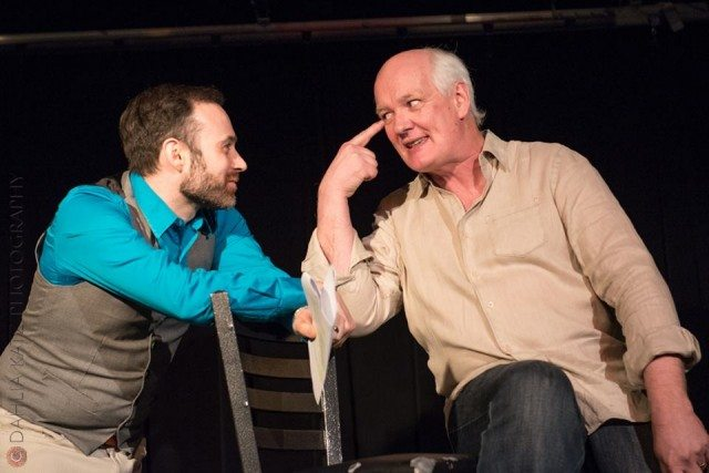 M. John Kennedy and Colin Mochrie mix it up on stage. Photo by Dahlia Katz.