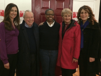 "Supporters of the ""Save the Red Door"" campaign, from left: Board chair Rachel Grinberg, former mayor David Crombie, executive director Bernita Hawkins, city councillor Paula Fletcher (ward 30, Toronto-Danforth), councillor Mary Fragedakis (ward 29, Toronto-Danforth)"