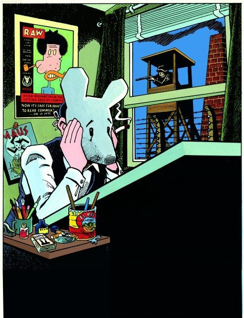Spiegelman draws himself sitting at his desk wearing a Maus mask.