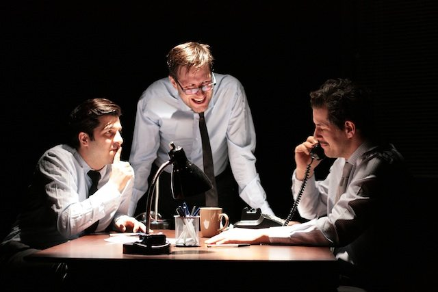 Adam Paolozza, Viktor Lukawski, and Nicolas Di Gaetano in Business as Usual. Photo by Kadri Hansen.