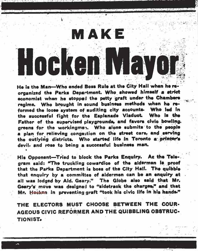 Advertisement, the Toronto Star, December 31, 1909