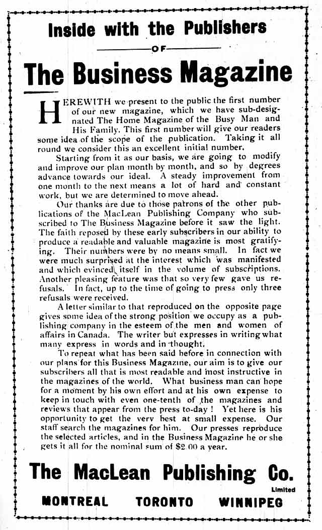 Introducing The Business Magazine, October 1905