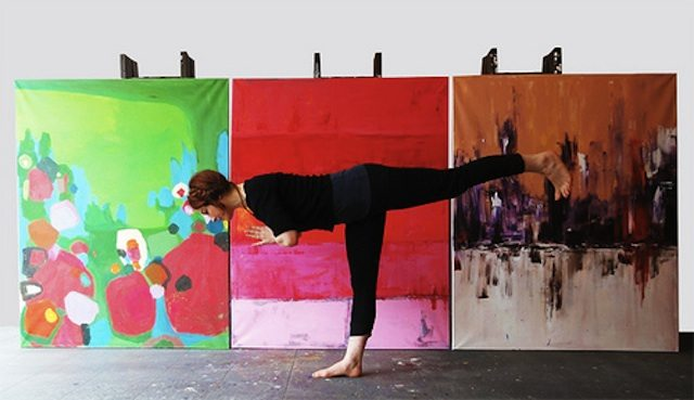 Getting your creative juices flowing with yoga. Photo courtesy of Paintlounge.