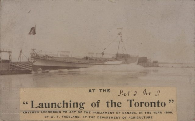 Photo of the launching of the steamer Toronto, 1898, by William Thompson Freeland  From the Canadian Copyright Collection at the British Library on Wikimedia Commons