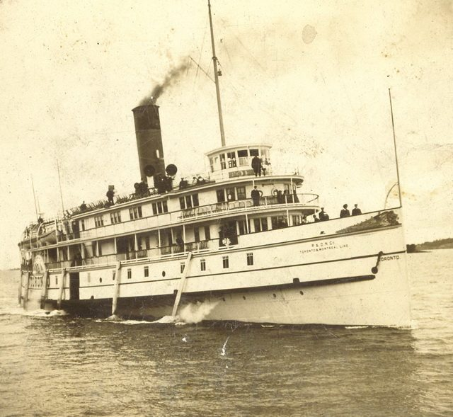 Stereoview of the steamer Toronto in the Thousand Islands, ca  1910  From Walter Lewis' Maritime History of the Great Lakes