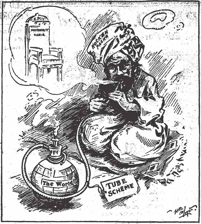 """The pipe dream of Hocken Pasha "" Cartoon, the Toronto Star, December 22, 1909"